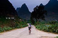 Cycling amongst the limestone karsts of the Yangshuo region.
