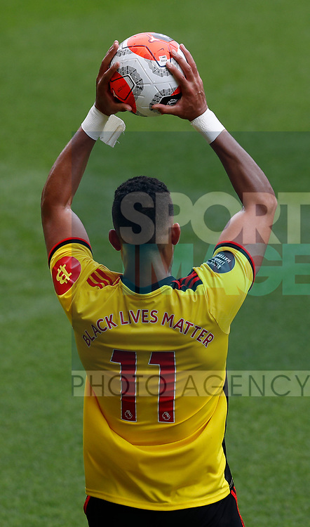 Adam Masina of Watford takes a throw in with the Black Lives Matter replacing his name on the shirt during the Premier League match at Vicarage Road, Watford. Picture date: 20th June 2020. Picture credit should read: Darren Staples/Sportimage