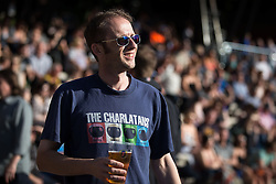 """© Licensed to London News Pictures . 04/07/2015 . Manchester , UK . A Charlatans fan in the crowd . Fans at the Castlefield Bowl as part of the """" Summer in the City """" festival in Manchester. Photo credit : Joel Goodman/LNP"""