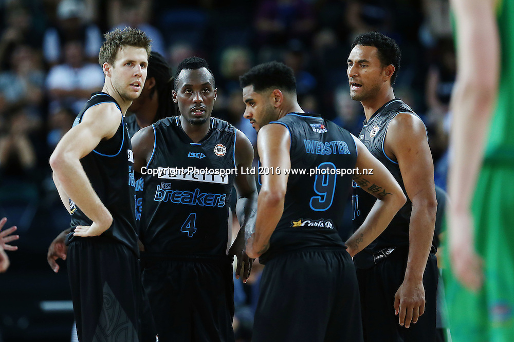 Tom Abercrombie, Cedric Jackson, Corey Webster and Mika Vukona of the Breakers look on. 2015/16 ANBL, SkyCity Breakers vs Townsville Crocodiles, Vector Arena, Auckland, New Zealand. 29 January 2016. Photo: Anthony Au-Yeung / www.photosport.nz