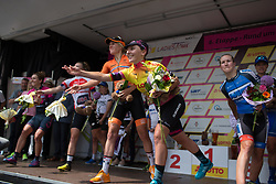 Riders throuw their bouquets to the spectators after Stage 6 of the Lotto Thuringen Ladies Tour - a 80.5 km road race, starting and finishing in Gotha on July 18, 2017, in Thuringen, Germany. (Photo by Balint Hamvas/Velofocus.com)