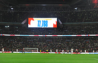 Football - 2019 / 2020 Women's International Friendly - England vs. Germany<br /> <br /> The scoreboard shows the biggest attendance for a Women's soccer match in England, at Wembley Stadium.<br /> <br /> COLORSPORT/ANDREW COWIE
