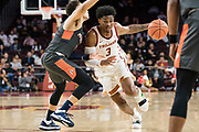 Southern California Trojans guard Elijah Weaver (3) drives against Pepperdine Waves guard Colbey Ross (4) during an NCAA college basketball game, Tuesday, Nov. 19, 2019, in Los Angeles. USC defeated Pepperdine 91-84. (Jon Endow/Image of Sport)