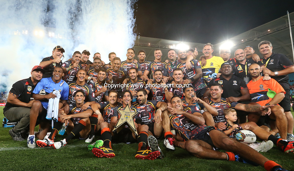 Rugby League - All Stars v Indigenous , Gold Coast 13 February 2015<br /> Indigenous All Stars' team celebrate their win<br /> Photograph :  Jason O'Brien