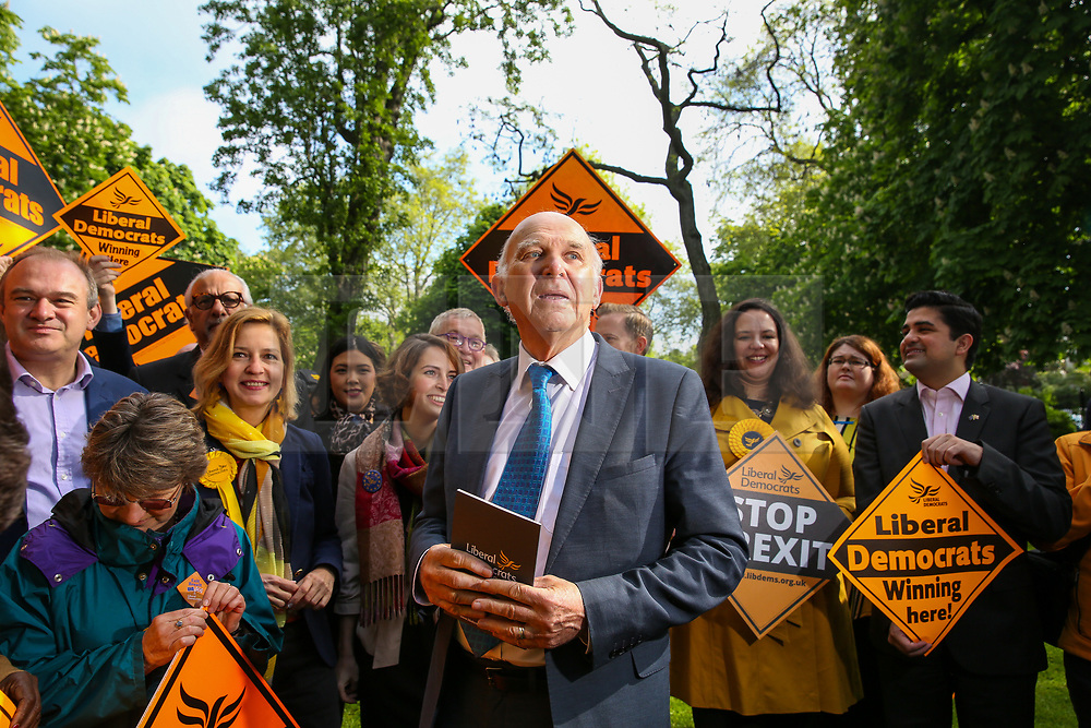 © Licensed to London News Pictures. 10/05/2019. London, UK. Leader of Liberal Democrats, Vince Cable, MEP candidates and party activists in Camden, north London for the Liberal Democrats European Union election campaign. Britain must hold European Parliament elections on 23rd May 2019 or leave the European Union with no deal on 1st June 2019 after Brexit was delayed until 31st October 2019, as Prime Minister, Theresa May failed to get her Brexit deal approved by Parliament. Photo credit: Dinendra Haria/LNP