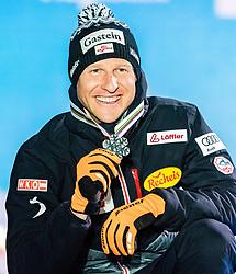 28.02.2019, Seefeld, AUT, FIS Weltmeisterschaften Ski Nordisch, Seefeld 2019, Nordische Kombination, Siegerehrung, im Bild Silbermedaillengewinner Bernhard Gruber (AUT) // Silver medalist Bernhard Gruber of Austria during the winner Ceremony for the Ski Jumping competition for Nordic Combined of FIS Nordic Ski World Championships 2019. Seefeld, Austria on 2019/02/28. EXPA Pictures © 2019, PhotoCredit: EXPA/ Stefan Adelsberger