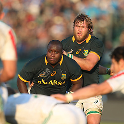 PADUA, ITALY - NOVEMBER 22: Trevor Nyakane with Duane Vermeulen of South Africa during the Castle Lager Outgoing Tour match between Italy and South African at Stadio Euganeo on November 22, 2014 in Padua, Italy. (Photo by Steve Haag/Gallo Images)