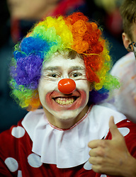 STOKE-ON-TRENT, ENGLAND - Monday, October 31, 2011: A Stoke City supporter dressed as a clown watches his side lose 3-1 against Newcastle United during the Premiership match at the Britannia Stadium. (Pic by David Rawcliffe/Propaganda)