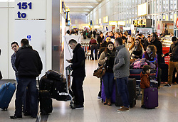 Queue's at Stansted airport  at the start of the Christmas getaway, Friday, 21st December 2012  Photo by: Stephen Lock / i-Images