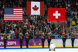 20.02.2014, Bolshoy Ice Dome, Adler, RUS, Sochi, 2014, Eishockey Damen, Medaillenfeier, im Bild Die Fahnen der Medaillen Gewinnerinnen // during Womens Icehockey Medal Ceremony of the Olympic Winter Games Sochi 2014 at the Bolshoy Ice Dome in Adler, Russia on 2014/02/20. EXPA Pictures © 2014, PhotoCredit: EXPA/ Freshfocus/ Urs Lindt<br /> <br /> *****ATTENTION - for AUT, SLO, CRO, SRB, BIH, MAZ only*****