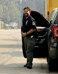 EXCLUSIVE: Jack Osbourne serves as badged and suited up as Malibu Police to help in Malibu fires. 10 Nov 2018 Pictured: Jack Osbourne. Photo credit: APEX / MEGA TheMegaAgency.com +1 888 505 6342