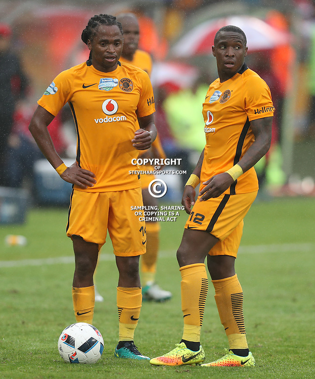 Siphiwe Tshabalala with George Maluleka of Kaizer Chiefs during the Telkom Knockout quarterfinal  match between Kaizer Chiefs and Free State Stars at the Moses Mabhida Stadium , Durban, South Africa.6 November 2016 - (Photo by Steve Haag Kaizer Chiefs)