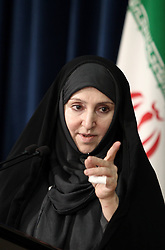 60454630  <br /> Iranian new Foreign Ministry spokeswoman Marzieh Afkham speaks during her first weekly press briefing in Tehran, capital of Iran, on Sept. 10, 2013. Afkham announced on Tuesday that Iran supported the Russian proposal to place Syrian chemical weapons under international control, Tehran, Iran, September 10, 2013.<br /> Picture by imago / i-Images<br /> UK ONLY