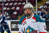 KELOWNA, CANADA - FEBRUARY 2: Cole Carrier #12 of the Kelowna Rockets stands on the ice for warm up against the Kamloops Blazers on February 2, 2019 at Prospera Place in Kelowna, British Columbia, Canada.  (Photo by Marissa Baecker/Shoot the Breeze)