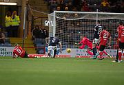 24th November 2017, Dens Park, Dundee, Scotland; Scottish Premier League football, Dundee versus Rangers; Dundee goalkeeper Elliott Parish saves from Rangers' Kenny Miller