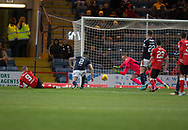 24th November 2017, Dens Park, Dundee, Scotland; Scottish Premier League football, Dundee versus Rangers; Dundee goalkeeper Elliott Parish saves from Rangers' Kenny Miller