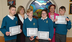 Sancta Maria College Awards 2018<br />Green environmental awareness award Myles O Malley, A J Murphy, Orla Lally and Patrick Needham,<br />presented by Finola Foy and Pauline Moran.<br />Pic Conor McKeown