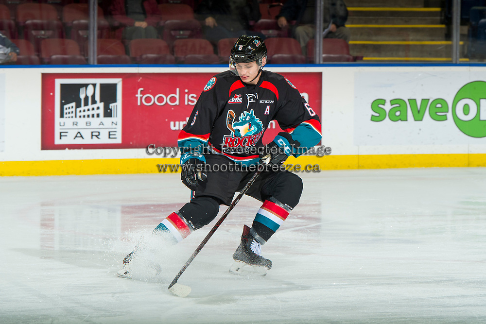 KELOWNA, CANADA - OCTOBER 3: Kaedan Korczak #6 of the Kelowna Rockets warms up against the Vancouver Giants on October 3, 2018 at Prospera Place in Kelowna, British Columbia, Canada.  (Photo by Marissa Baecker/Shoot the Breeze)  *** Local Caption ***