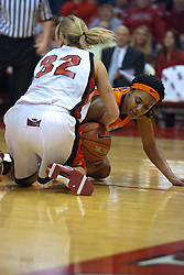 28 March 2010: Lydia McCully and Maggie Krick tie it up on the floor. The Redbirds of Illinois State squeak past the Illini of Illinois 53-51 in the 4th round of the 2010 Women's National Invitational Tournament (WNIT) on Doug Collins Court inside Redbird Arena at Normal Illinois.