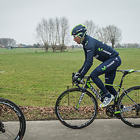 Erondegem, Belgium, 26 March 2015<br /> Nairo Quintana Rojas, born 4 February 1990, is a Colombian racing cyclist, currently riding for the Movistar Team.<br /> Quintana is a specialist climber, known for his ability to launch sustained and repeated attacks on ascents of steep gradient. <br /> His best career results are winning the 2014 Giro d'Italia as well as a second place overall in the 2013 Tour de France.<br /> Photo: Ezequiel Scagnetti