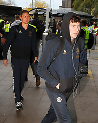 Victor Lindelof and Nemanja Matic of Manchester United are spotted on their way to catch a flight as the team fly to Turin on Tuesday afternoon to play Juventus in The Champions League on Wednesday night.