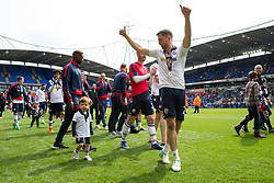 Free to use courtesy of Sky Bet - Andrew Taylor parades with his young son as Bolton Wanderers celebrate finishing the season as Sky Bet League One runners up to secure automatic Promotion to the 2017/18 Sky Bet Championship - Rogan Thomson/JMP - 30/04/2017 - FOOTBALL - Macron Stadium - Bolton, England - Bolton Wanderers v Peterborough United - EFL Sky Bet League One.