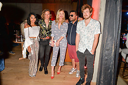 Vanessa White, Dougie Poynter, Laura Whitmore, Naughty Boy and James Bourne at the Warner Music Group and British GQ Summer Party in partnership with Quintessentially held at Nobu Shoreditch Willow Street, London England. 5 July 2017.
