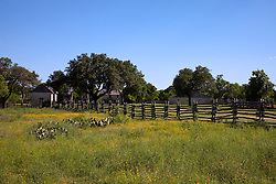 Enhanced by a field of yellow wildflowers and a rustic, split-rail fence, Johnson Settlement recreates a Texas farm as it might have looked between the 1840s and the 1920s.  These properties and buildings figured into Lyndon B. Johnson's early life.