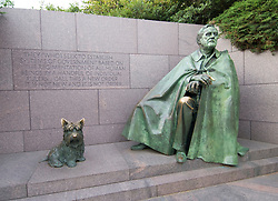 Washington DC; USA: The Franklin Delano Roosevelt Memorial. Sculpture of FDR and his dog Fala.  .Photo copyright Lee Foster Photo # 14-washdc82761