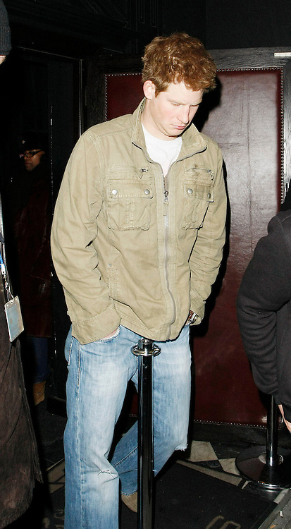 08.JANUARY.2010 - LONDON<br /> <br /> PRINCE HARRY PARTIES WITH FRIENDS AT HIS FAVOURITE NIGHT CLUB RAFFLES ON THE KINGS ROAD, CHELSEA. WHEN LEAVING AT 2:30AM LOOKING COOL BUT NOT ACCTUALY LOOKING WHERE HE WAS GOING THE PARTY PRINCE WALKED STRAIGHT INTO A POLE OUTSIDE THE CLUB NEARLY DAMAGING THE CROWN JEWELS.<br /> <br /> BYLINE: EDBIMAGEARCHIVE.COM<br /> <br /> *THIS IMAGE IS STRICTLY FOR UK NEWSPAPERS AND MAGAZINES ONLY FOR WORLD WIDE SALES AND WEB USE PLEASE CONTACT EDBIMAGEARCHIVE - 0208 954 5968