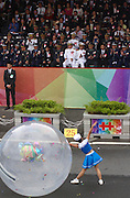 A high school student performs as part of the Republic of China (Taiwan) National Day celebration on October 10, in front of the Presidential Palace in Taipei.<br />