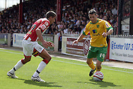 London - Saturday August 15th, 2009: Wesley Hoolahan (R) of Norwich City in action against Liam Sercombe of Exeter City during the Coca Cola League One match at St James Park, Exeter. (Pic by Mark Chapman/Focus Images)