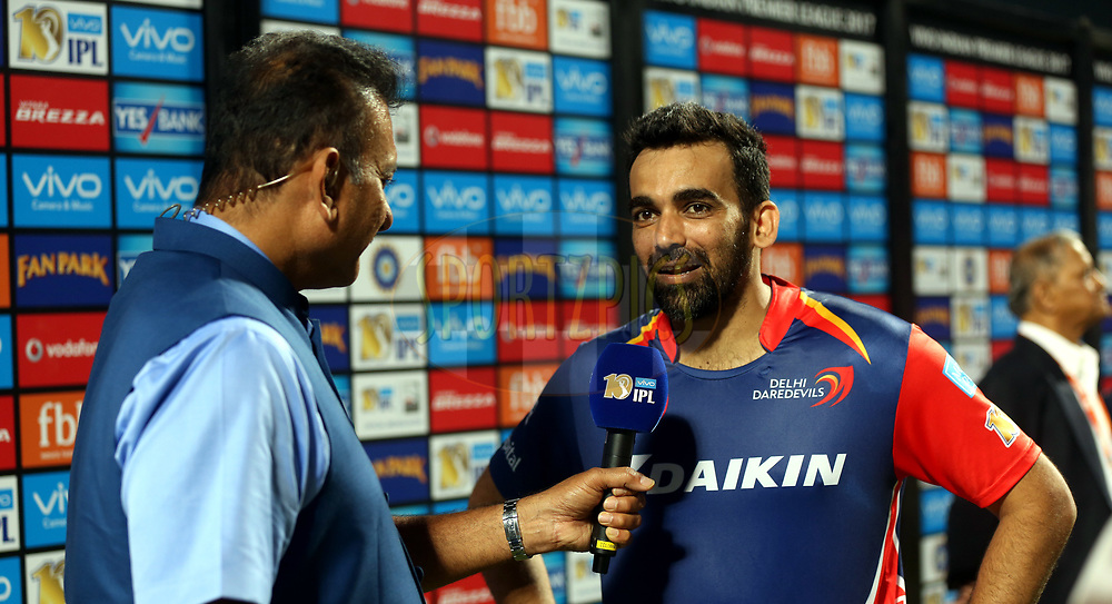 Zaheer Khan captain of the Delhi Daredevils after the match 9 of the Vivo 2017 Indian Premier League between the Rising Pune Supergiants and the Delhi Daredevils held at the MCA Pune International Cricket Stadium in Pune, India on the 11th April 2017<br /> <br /> Photo by Sandeep Shetty- IPL - Sportzpics