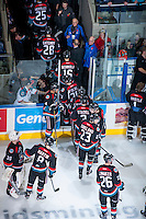 KELOWNA, CANADA - NOVEMBER 9: The Kelowna Rockets exit the ice after winning against the Edmonton Oil Kings on November 9, 2013 at Prospera Place in Kelowna, British Columbia, Canada.   (Photo by Marissa Baecker/Shoot the Breeze)  ***  Local Caption  ***