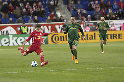 March 10, 2018 - Harrison, New Jersey, United States - Benjamin Mines (17) of Red Bulls kicks the ball during regular MLS game against Portland Timbers at Red Bull Arena Red Bulls won 4 - 0 (Credit Image: © Lev Radin/Pacific Press via ZUMA Wire)