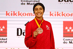 November 10, 2018 - Madrid, Madrid, Spain - Sadini Btissam (MAR) win the bronce medal and the third place of the tournament of Female Kumite -61 Kg during the Finals of Karate World Championship celebrates in Wizink Center, Madrid, Spain, on November 10th, 2018. (Credit Image: © AFP7 via ZUMA Wire)