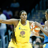 LOS ANGELES, CA - JUN 30: Kalani Brown (21) of the Los Angeles Sparks is seen on defense during a game on June 30, 2019 at the Staples Center, in Los Angeles, California.