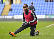 Fulham forward Moussa Dembele warming up during the Sky Bet Championship match between Reading and Fulham at the Madejski Stadium, Reading, England on 5 March 2016. Photo by Adam Rivers.