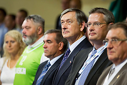 Danilo Turk, president of Slovenia and Olafur Rafnsson of FIBA Europe during basketball match between National team of Slovenia and Italy in First Round of U20 Men European Championship Slovenia 2012, on July 12, 2012 in Domzale, Slovenia.  Slovenia defeated Italy 81-68. (Photo by Vid Ponikvar / Sportida.com)
