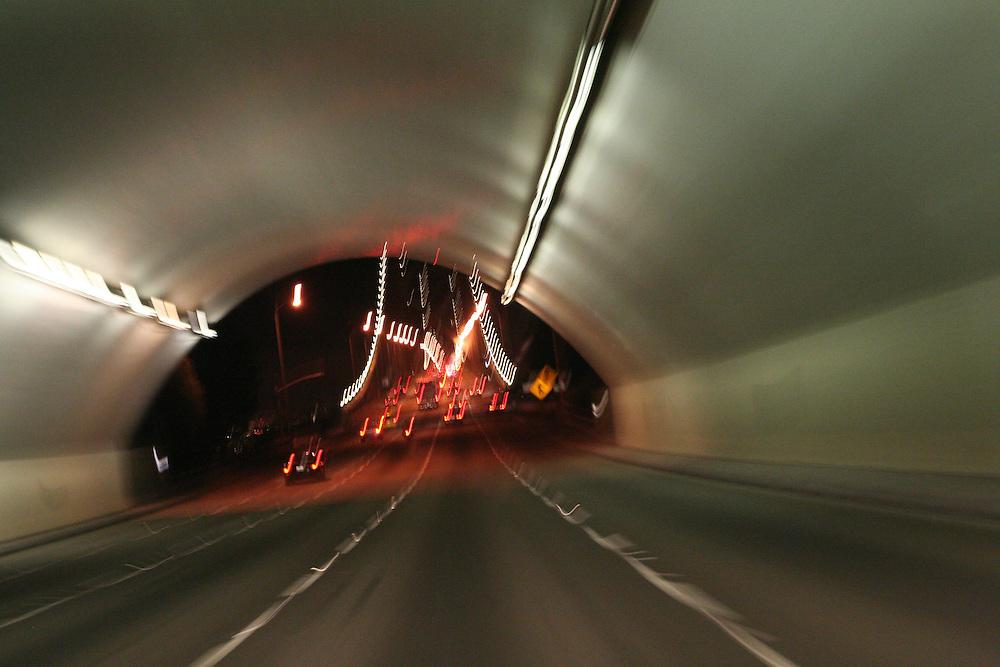 Oakland Bay bridge tunnel going into San Francisco.