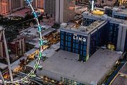Aerial view of Linq Hotel the Strip, Las Vegas, Nevada, USA