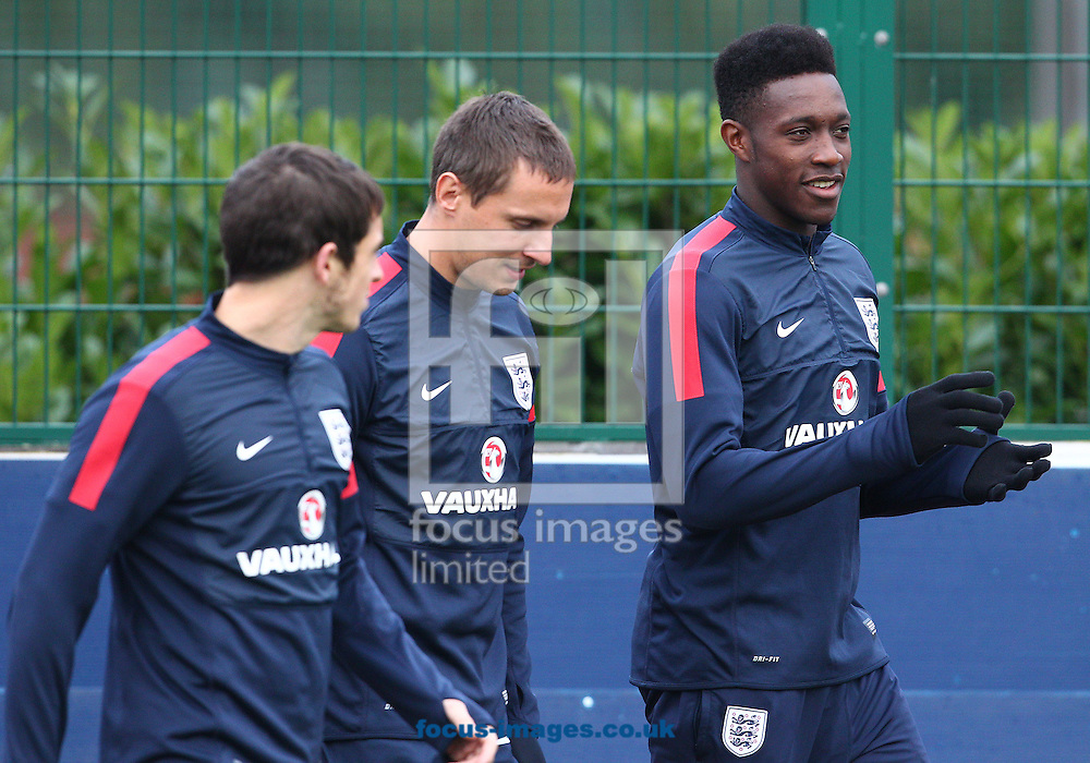 Picture by Paul Terry/Focus Images Ltd +44 7545 642257<br /> 14/10/2013<br /> ( R-L ) Daniel Welbeck, Phil Jagielka, and Leighton Baines pictured during England training at London Colney, London.