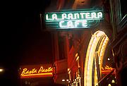La Pantera Cafe and Basta Pasta neon signs..North Beach, San Francisco. 2001