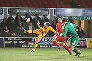 Josh Sheehan of Newport County with an early chance during the The FA Cup match between Newport County and Alfreton Town at Rodney Parade, Newport, Wales on 15 November 2016. Photo by Andrew Lewis.