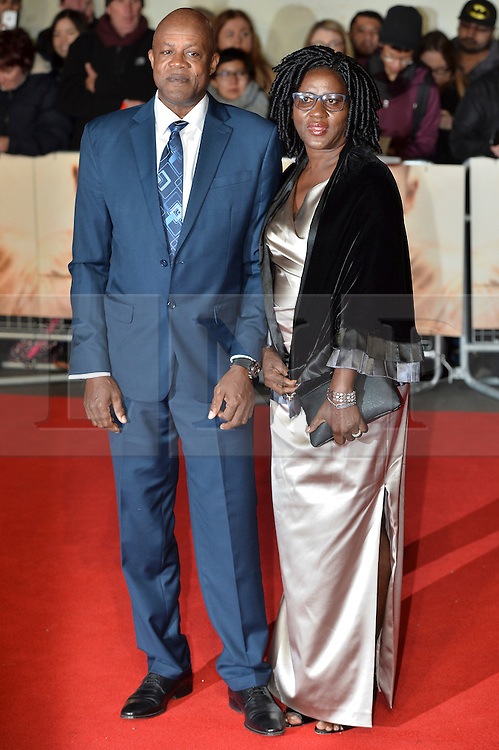 © Licensed to London News Pictures. 28/11/2016. Wellesley Bolt, Jennifer Bolt, parents of Usain Bolt, attend the I Am Bolt world film premiere at the Odeon Leicester Square in London.  Photo credit: Ray Tang/LNP