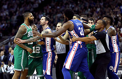 Boston Celtics' Marcus Morris' (left) temper flares during the NBA London Game 2018 at the O2 Arena, London.
