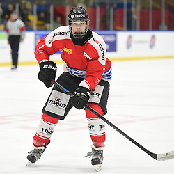 WHITBY, - Dec 15, 2015 -  WJAC Game 6- Team Russia vs Team Switzerland at the 2015 World Junior A Challenge at the Iroquois Park Recreation Complex, ON. Kaj Suter #7 of Team Switzerland follows the play during the second period.(Photo: Andy Corneau / OJHL Images)
