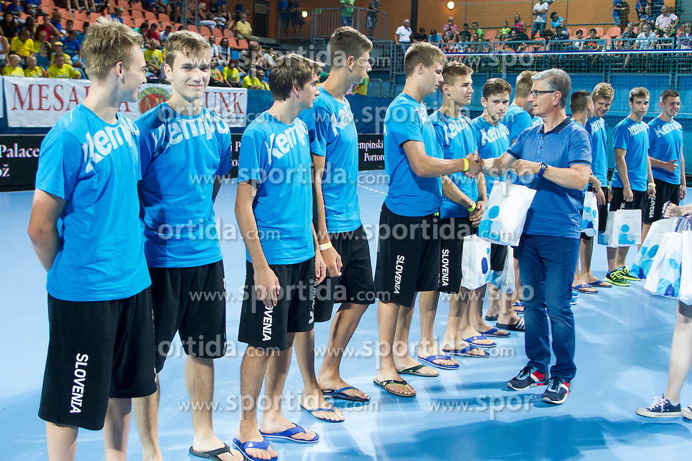 Franjo Bobinac, president of RZS and young players during handball match between RK Celje Pivovarna Lasko vs RK Gorenje Velenje of Super Cup 2015, on August 29, 2015 in SRC Marina, Portoroz / Portorose, Slovenia. Photo by Urban Urbanc / Sportida