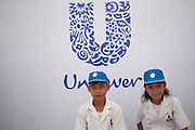 JAKARTA, INDONESIA - OCTOBER 15: kids stand in front of unilever stand  on October 15, 2012 in Jakarta, Indonesia. Celebrated in over 100 countries, Global Handwashing Day is an annual awareness day which aims to put the global spotlight on handwashing with soap as a lifesaving habit.