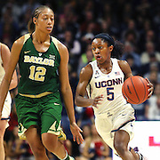 STORRS, CONNECTICUT- NOVEMBER 17: Crystal Dangerfield #5 of the UConn Huskies defended by Alexis Prince #12 of the Baylor Bears during the UConn Huskies Vs Baylor Bears NCAA Women's Basketball game at Gampel Pavilion, on November 17th, 2016 in Storrs, Connecticut. (Photo by Tim Clayton/Corbis via Getty Images)